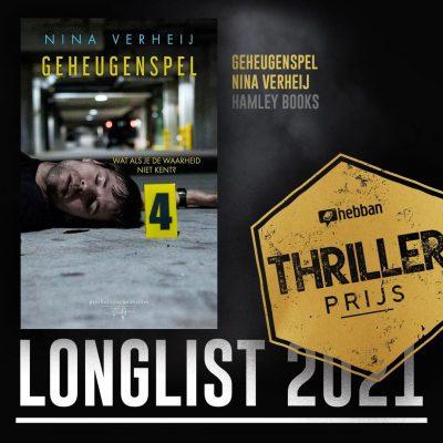 'Geheugenspel' op de longlist van de Hebban Thrillerprijs 2021